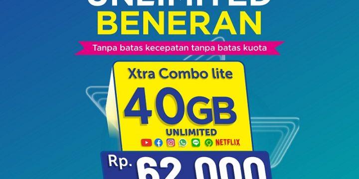 Kuota XL 40 GB FULL 24JAM Hanya Rp 62.000 BENERAN UNLIMITED Youtube, Whatsapp, Instagram, Facebook, Netflix, Gojek